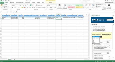 Tango factura y Microsoft Excel